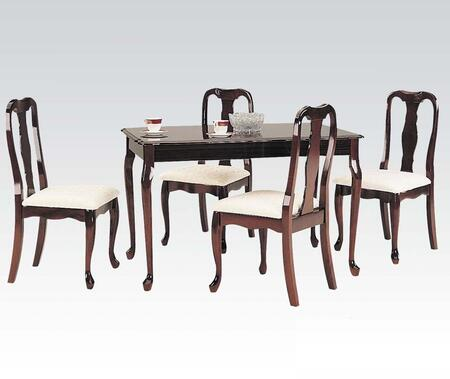 Queen Anne Collection 06004 5 PC Dining Room Set with Rectangular Table  4 Side Chairs  Fabric Upholstery and Queen Anne Front Legs in Cherry