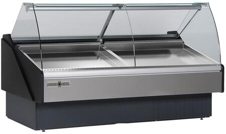 KFMSC120S Seafood Case with Ice Pans with 37.76 cu. ft. Capacity  3/4 HP  Tilt Forward Curve  Tempered Front Glass  Rear Tempered Sliding Doors  in