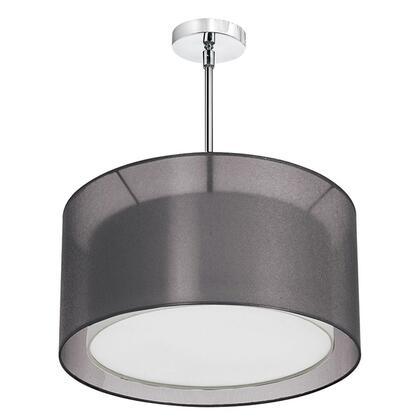 MEL228-815-790-SC 3 Light Pendant  Shade Within A Shade  Satin Chrome  Outside Shade Black Laminated Organza  Inside Shade White