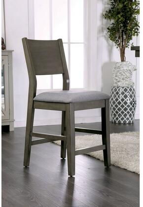Anton II Collection CM3986PC-2PK Set of 2 Counter Height Chair with Panel Back and Padded Fabric Cushion in Gray and Light