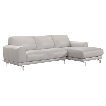 Everly Collection LCEVSEGR Contemporary Sectional in Genuine Dove Grey Leather with Brushed Stainless Steel