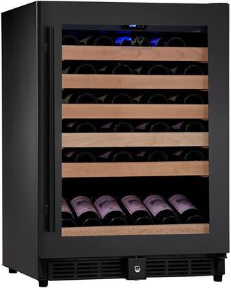 KBU-50W-FG 24 inch  1 Temperature Zone Wine Cooler with 46 Bottle  Warp Resistant Beech Wood Shelves and Door Lock: Glass Door in
