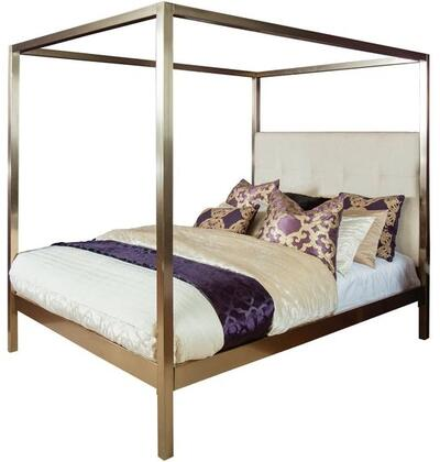 Avalon 1935BQ Bed Queen Sized Bed with Headboard  Slats  Bed Post and Canopy  Pearl-Hued Fabric Headboard in Champagne Bronze