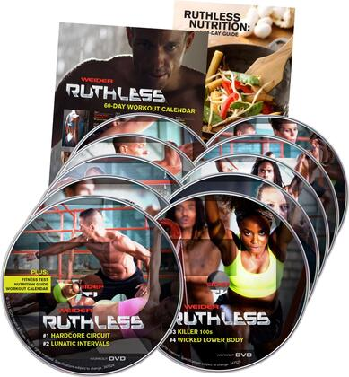 WDVD213 Weider Ruthless DVD Kit with 20 Workouts on 10 DVDs  Workout Calendar  Fitness Test  and Meal Plan