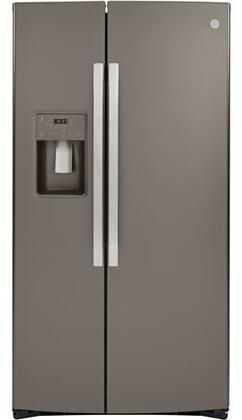 GZS22IMNES Counter Depth Side by Side Refrigerator with Showcase LED Lighting and Hidden Hinge in