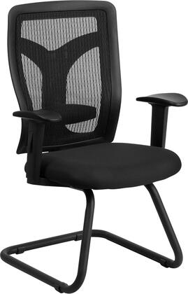 WL-F065V-MF-A-GG Galaxy Black Mesh Side Arm Chair with Mesh Seat and Adjustable Lumbar