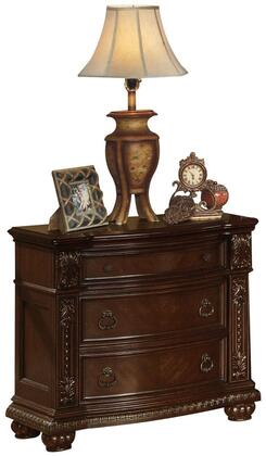 Anondale Collection 10313 35 inch  Nightstand with 3 Drawers  Metal Hardware  Pumpkin Bun Feet  Poplar Wood and Cherry Veneer Materials in Cherry