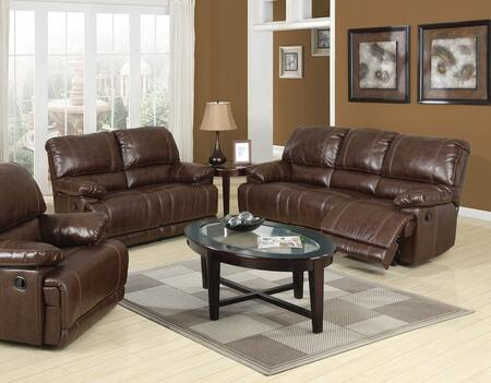 Daishiro Collection 50745SET 6 PC Living Room Set with Sofa + Loveseat + Recliner + 3 PK Table Set in Chestnut