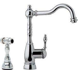 Fhf180 Single Lever Bar Cast Spout Faucet With Side Spray And One-hole Mixer In Satin