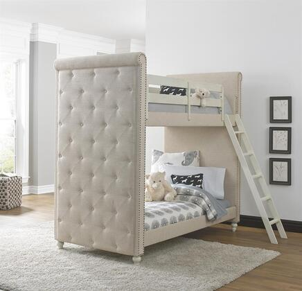 Madison 88907-30-31-32 Twin Size Bunk Bed with Fabric Upholstered Ends  Decorative Nail Head Trim  Ladder  Rounded Edges and Framed Panels in Cream