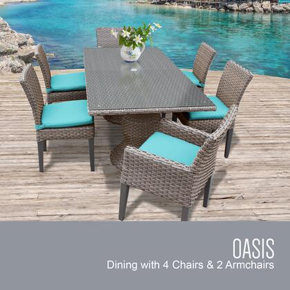 Oasis-rectangle-kit-4adc2dcc-aruba Oasis Rectangular Outdoor Patio Dining Table With 4 Armless Chairs And 2 Chairs W/ Arms With 2 Covers: Grey And