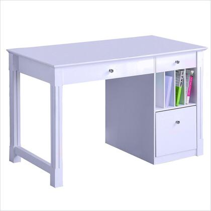 DW48D30-DHWH Home Office Deluxe White Wood Storage Computer Desk with Hutch in