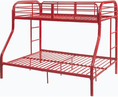 Tritan Collection 02043RD Twin Over Full Size Bed with Built-in Side Ladders  Full Length Guardrail  Slat System Included and Metal Construction in Red