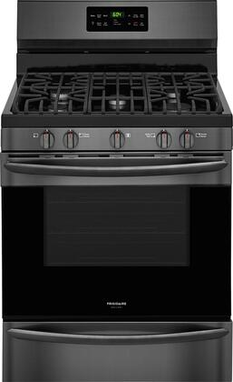 Frigidaire FGGF3036TD Gallery Series 30 Gas Freestanding Range with Sealed Burner Cooktop, Storage, 5 cu. ft. Primary Oven Capacity, in Black Stainless Steel