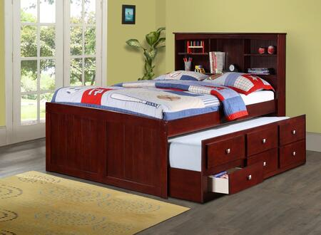 250-FCP Full Mission Captains Bed with Full Trundle Bed  3 Drawers and Bookcase in