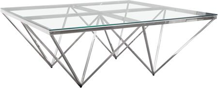 """Omni_Collection_OMNICTSL_41""""_Square_Cocktail_Table_with_Clear_Tempered_Glass_Top_and_Polished_Stainless_Steel_Base_in"""