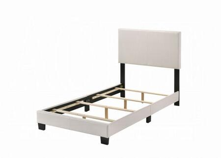 Lien Collection 25716T Twin Size Panel Bed with 4 Slats Included  Low Profile Footboard  High Headboard  Supporting Wood Legs and Bycast PU Leather Upholstery