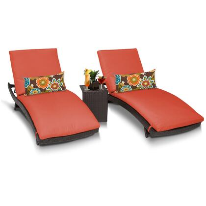 Barbados BARBADOS-CURVED-CHAISE-2x-ST-TANGERINE 3-Piece Patio Set with 2 Curved Chaises and Side Table - Wheat and Tangerine