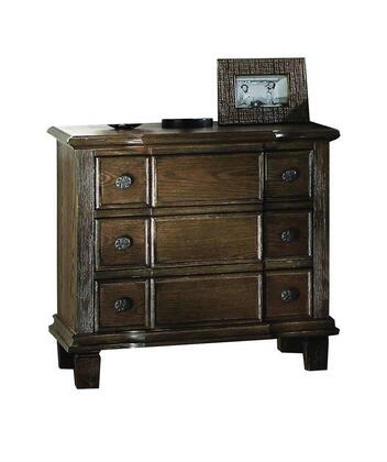 Baudouin Collection 26113 27 inch  Nightstand with 3 Drawers  Metal Hardware  Felt Lined Top Drawers  Acacia Wood and Oak Veneer Materials in Weathered Oak