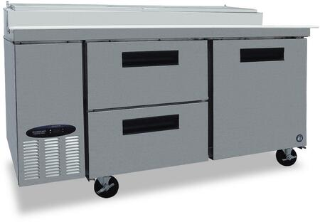 CPT67-D2 67 inch  Commercial Series Pizza Prep Table with 2 Drawers  1 Door  Stainless Steel Exterior and Interior  19.9 cu. ft. Capacity  and 2 Epoxy Coated
