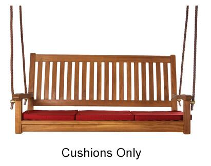 "TC50M Set of (3) 18"" Teak Swing Cushions with Hi Density Foam  Soft-Faced Cotton Canvas and Tie Downs in"