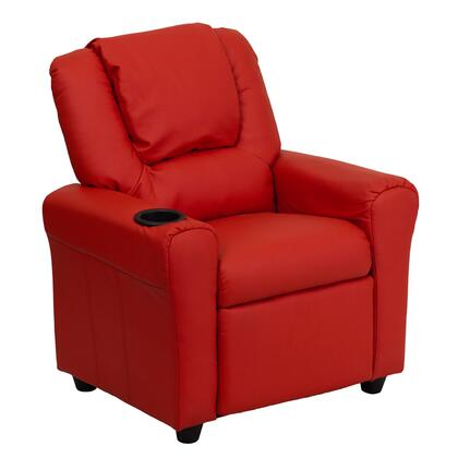 DG-ULT-KID-RED-GG Contemporary Red Vinyl Kids Recliner with Cup Holder and 295347