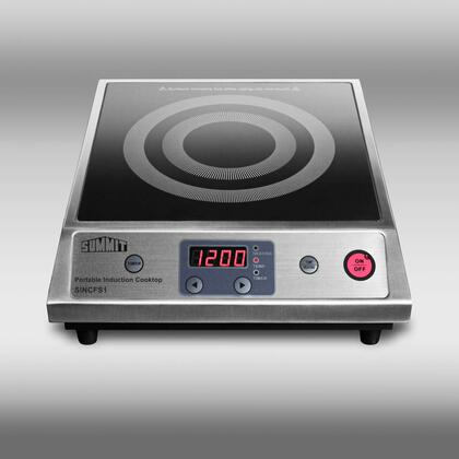 "SINCFS1 12"" Smoothtop Portable Electric Induction Cooktop With 1800W Radiant Element Ten Power Levels Digital Controls Automatic Pan Recognition In"