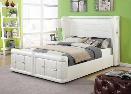 Linus Collection 25040Q Queen Size Bed with Wooden Legs  Wingback Headboard  Low Profile Footboard  Belt Accents and PU Leather Upholstery in Pearl White