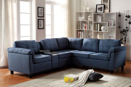 Cleavon Collection 51525 Reversible Sectional Sofa with 2 Chairs  Cup Holder Console  Wedge  Loveseat  Espresso PU Leather and Fabric Upholstery in