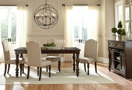 McGregor Collection 17721-4SC-SB 6-Piece Dining Room Set with Rectangular Dining Table  4 Side Chairs and Sideboard in Brown and