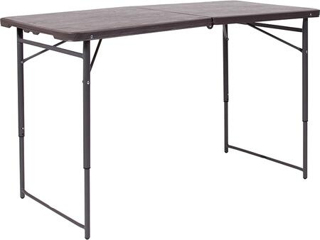DAD-LF-122Z-GG 23.5''W x 48.25''L Height Adjustable Bi-Fold Brown Wood Grain Plastic Folding Table with Carrying