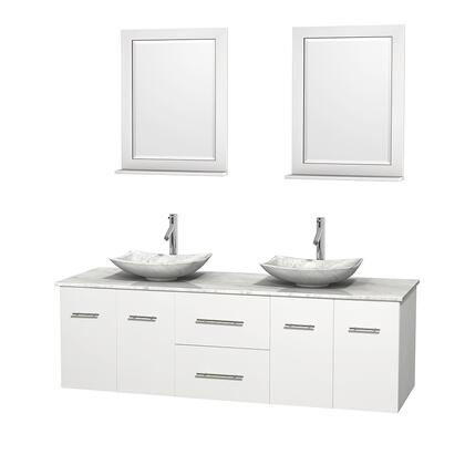Wcvw00972dwhcmgs6m24 72 In. Double Bathroom Vanity In White  White Carrera Marble Countertop  Arista White Carrera Marble Sinks  And 24 In.