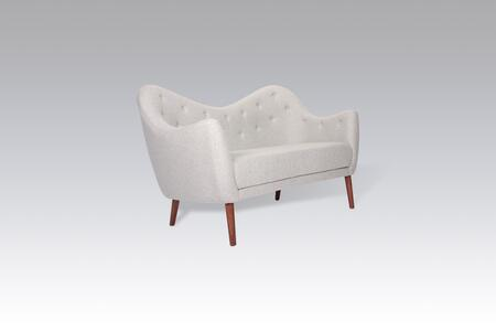 Vuori FB7029LGREY Loveseat with Birch Wood Legs  Button Tufted Detailing and Fabric Upholstery in Light