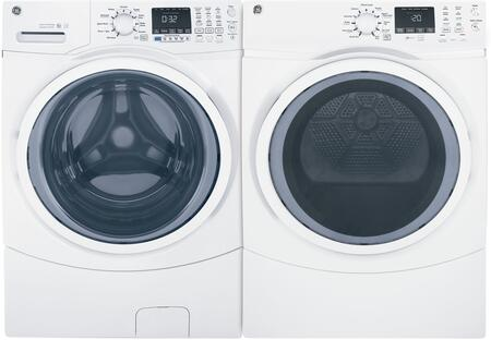 Front Load Steam GFW450SSMWW 27 Washer with GFD45ESSMWW 27 Electric Dryer Laundry Pair in
