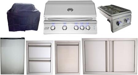 7 Piece Outdoor Kitchen Appliance Package with 32