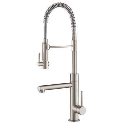 KPF-1603SFS Artec Pro 2-Function Commercial Style Pre-Rinse Kitchen Faucet with Pull-Down Spring Spout and Pot Filler in Spot Free Stainless Steel
