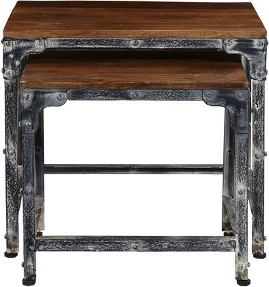 DS-D051014 Set of 2 Distressed Wood & Metal Nesting Tables with Solid Wood Tops  Antique Finished Metal Frame and Rivet Details in