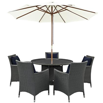Sojourn Collection EEI-2246-CHC-NAV-SET 7-Piece Outdoor Patio Sunbrella Dining Set with 5 Armchairs  Dining Table and Patio Umbrella in Canvas