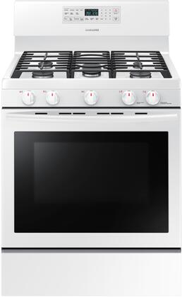 Samsung NX58M5600SW 30 Inch Freestanding Gas Range with 5 Burners, Sealed Cooktop, Griddle, 5.8 cu. ft. Primary Oven Capacity