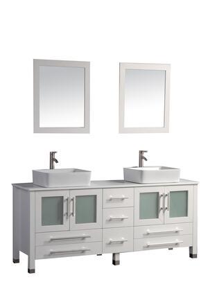 -8119W Malta 71 Double Sink Bathroom Vanity Set