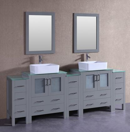 AGR230RCCWG3S 96 inch  Double Vanity with Clear Tempered Glass Top  Rectangle White Ceramic Vessel Sink  F-S02 Faucet  Mirror  4 Doors and 13 Drawers in