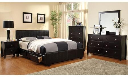 Burlington Collection CM7009FSBDMCN 5-Piece Bedroom Set with Full Storage Bed  Dresser  Mirror  Chest  and Nightstand in Espresso