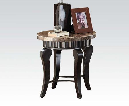 80069 Galiana End Table with Brown Marble Top and Black and Gold Brushed