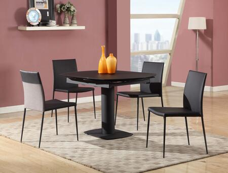 Grace-5pc-blk Grace Dining Grace Black 5 Piece Set Acid Frosted Black Glass Motion Extension Fingerprint Proof Dining Table With 4 Two Tone Side