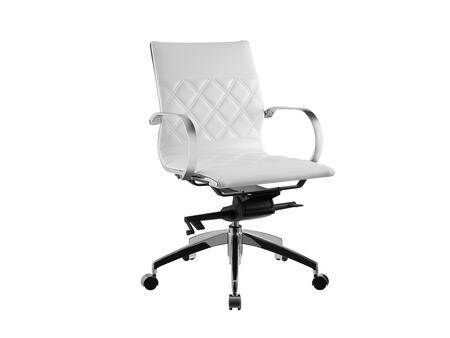 Lider Collection CB-O113-WH Office Chair with Hydraulic Mechanism  Casters  Modern Style  Commercial Grade  Chrome Metal Frame and Eco-Leather Upholstery in