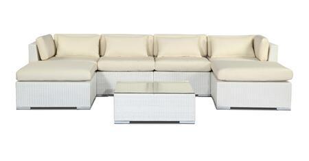 NAPALI7-WHT-IVORY Modern Outdoor Furniture Sofa Patio Modify-It Aloha Napali 7-Pc Set  White Wicker/Ivory Cushions By Kardiel