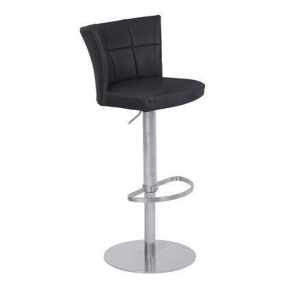 Encore Collection LCENBAVBBS Adjustable Metal Barstool in Vintage Black Faux Leather with Brushed Stainless Steel
