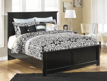 Maribel B138-56/58/97 King Size Panel Bed with Clean-Line Design  Scalloped Top and Base and Low Profile in