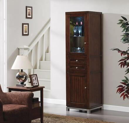 EC6439LC22-C247 Wesleyan Storage Pier  with Beverage Cooler  2 Full Extension Drawers  1 Tempered Glass Doors  Adjustable Glass Shelves  and Wood Construction