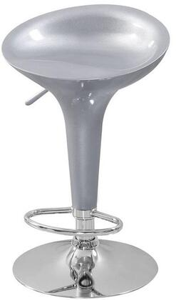 Sybill Collection 17719 Set of 2 22 inch  - 31 inch  Bar Stools with Adjustable Air Lift  Swivel Seat  Low Back  Acrylic Bucket Seat and Chrome Metal Base in Silver